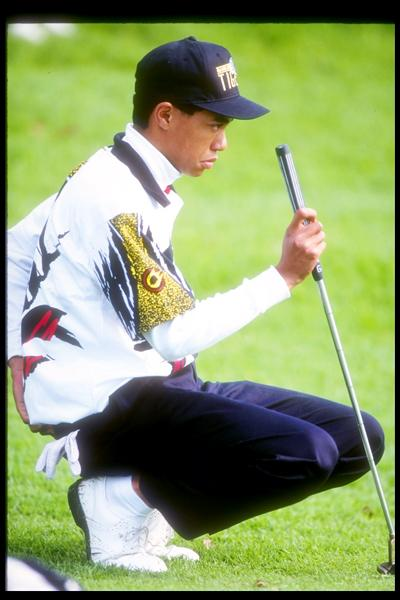 Woods reads a putt at the 1993 L.A. Open with a familiar-looking intensity. He has not played the Los Angeles Open since he pulled out with the flu after 36 holes in 2006.