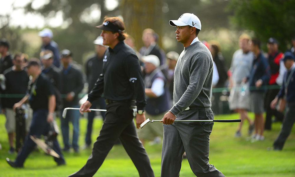 On Thursday, Tiger Woods and Phil Mickelson played together in the first round of the U.S. Open at San Francisco's Olympic Club. Woods has won three U.S. Opens, and Phil Mickelson has finished second a record five times.