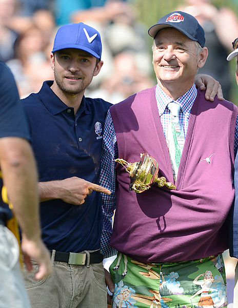 Justin Timberlake and Bill Murray (pictured here at the 2012 Ryder Cup) are regulars in the world of celebrity golf events.