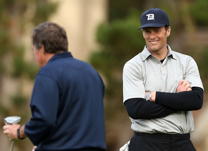 New England Patriots quarterback Tom Brady and coach Bill Belichick play the first round of the pro-am.