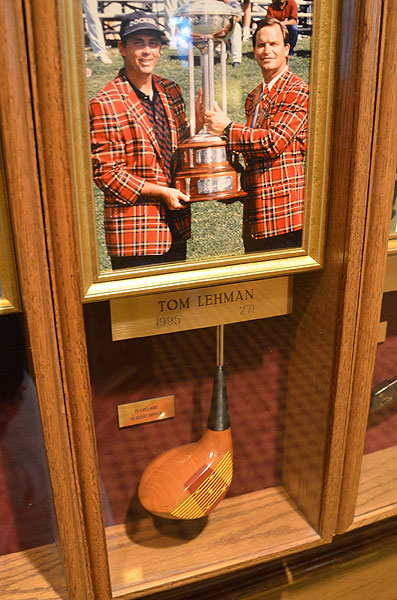 Inside the clubhouse at Colonial Country Club are displays featuring photos of past champions, their scores, and one club each winner used. This persimmon driver was in Tom Lehman's bag 17 years ago.