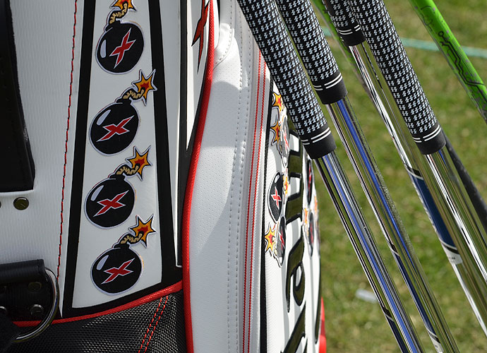 Each of the X Bomb patches on Tommy Gainey's bag symbolize a drive that went over 325 yards. Before the start of the Farmers Insurance Open, he already had 16! He uses a Callaway X Hot driver.