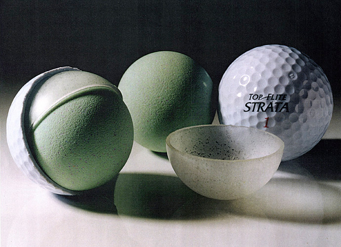 1996: TOP-FLITE STRATA BALL                       Top-Flite introduces the Strata, the first multilayer ball played on Tour. Mark O'Meara uses it to win the 1999 Masters.