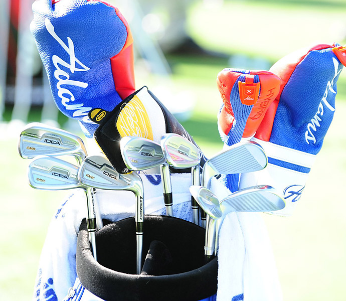 Troy Merritt has colorful Adams headcovers and Adams Idea CMB irons.