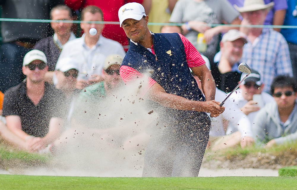 Tiger Woods won his Sunday singles match to finish 2-3 for the week.