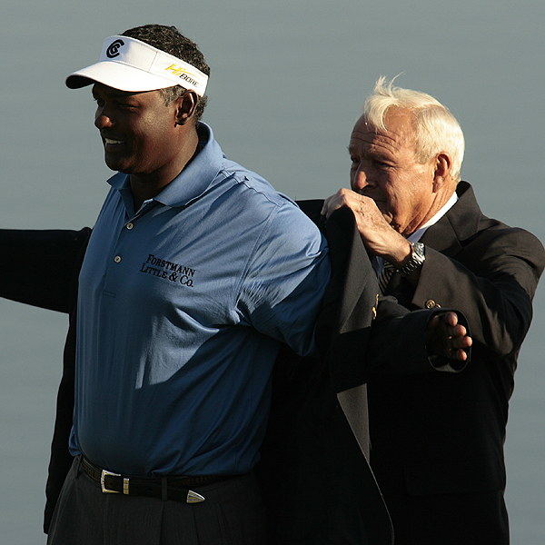 "Arnold Palmer slipping the winner's jacket over Singh's shoulders on Sunday evening. ""I think this was my starting point, so this tournament meant a lot to me, and I always play here,"" Singh said of the Bay Hill event. ""I love this course. It's Arnold's tournament. I love Arnold. It's just a nice place to come and play."" With two victories in the young 2007 season, Singh is now one of the favorites to win a green jacket at the Masters in three weeks."