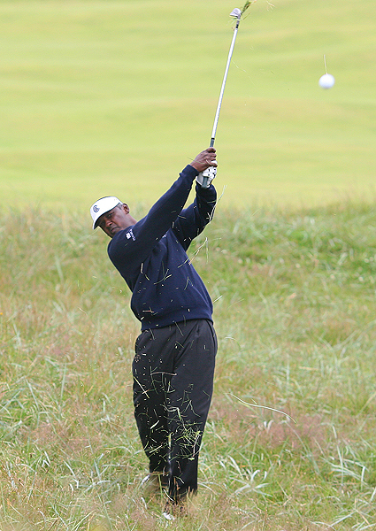 Three birdies on the front nine helped move Vijay Singh up the leaderboard. But two bogeys and a double bogey on 18 dropped him back to one over for the tournament.