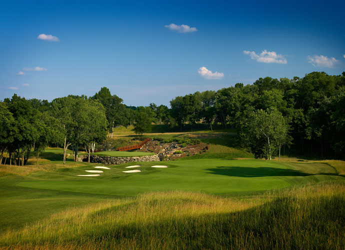 1992                        Recognizing the strength and beauty of the new Valhalla layout, as well as its natural spectator areas, the PGA of America awards the club its first major: the 1996 PGA Championship. Most striking is the par-4 13th hole, its green a veritable island fortified by stacked rocks. Other standout holes include the split-fairway par-5 seventh and the risk/reward par-5 18th.