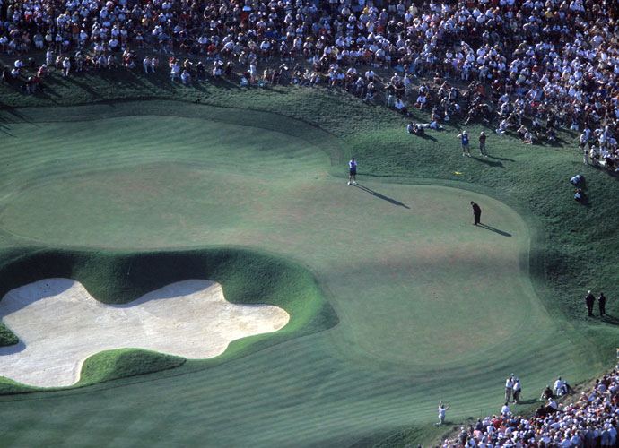 """2000                      Nicklaus, 60, says """"I'm basically ceremonial"""" after shooting 77 in an opening-round pairing with Tiger Woods, who cards a 66. It would be Jack's final PGA Championship appearance. On Sunday, in a thrilling duel with Bob May, Woods curls in his must-make six-foot putt on the 72nd hole to tie May at 270 (-18). Tiger goes on to beat the journeyman (one of Woods's junior-golf rivals) by one in a playoff. For the first time since Ben Hogan in 1953, a player captured three majors in a calendar year."""