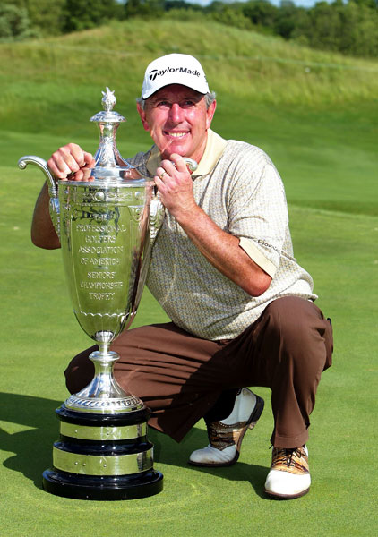 2004                        With the PGA having surprised many by sending the 2004 PGA Championship to Whistling Straits in Wisconsin, Valhalla's consolation prize is the Senior PGA Championship. In a rain-delayed event, with Valhalla playing as a par-71, Hale Irwin posts 276 (-8), birdieing the final hole to beat Jay Haas by one in Haas's debut on the 50-and-over circuit. It is the seventh senior major for Irwin, 58, leaving him one back of Jack Nicklaus.