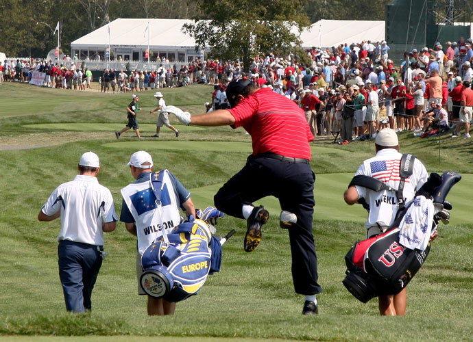 "2008                        U.S. Ryder Cup captain Paul Azinger deploys a leadership strategy he learned from watching a TV show about the Navy SEALs: He puts his 12-man team into three ""pods"" of four to facilitate bonding and allow for more natural best-ball and four-ball pairings. It works, as the Americans take a 9-7 lead into the Sunday singles matches, where Boo Weekley rides his driver like it's a horse (and beats Oliver Wilson 4 and 2), Anthony Kim thrashes Sergio Garcia 5 and 4, and Jim Furyk beats Miguel Ángel Jiménez 2 and 1 to clinch the Cup for the U.S., which wins by a lopsided score of 16 ½–11 ½."