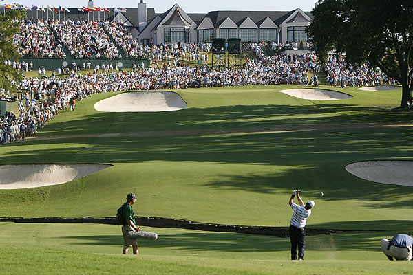 Scott Verplank emerged as one of the steadiest players on the PGA Tour in 2007. In this image, he hits an approach to the elevated 18th green at Southern Hills during the PGA Championship.