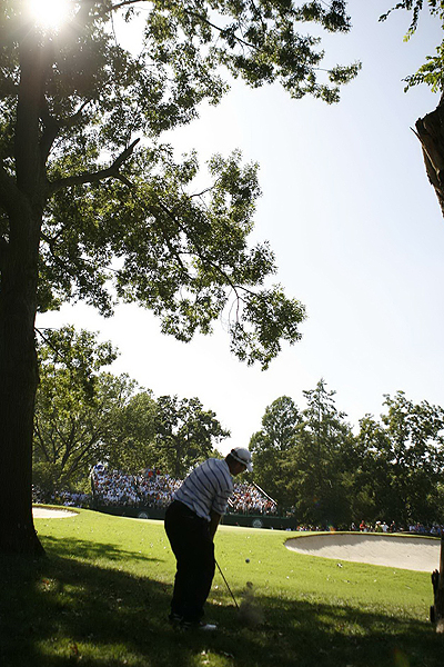 After hitting his second shot left into the trees on No. 12, Scott Verplank's third shot hit a tree and dropped straight down. His fourth shot (shown here) finally reached the green. Verplank scored a double-bogey on the hole and finished the day at even par for the tournament, seven shots behind Woods.