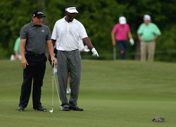 Vijay Singh and playing partner Scott Stallings take a closer look.