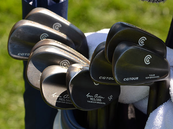 Vijay Singh also uses Cleveland CG Tour irons, but his are customized with a dark, gunmetal finish.