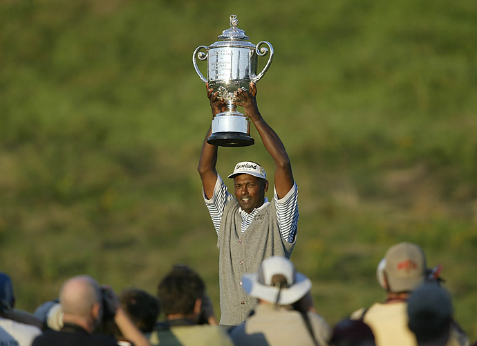5.	Vijay Singh, 2004                                 At the grand old age of 41, the smooth, powerful Fijian grabbed nine PGA Tour victories, including one major, the PGA Championship, in a three-way playoff at Whistling Straits. He was a warhorse that year, with 29 starts-and a thoroughbred, too, with 14 top-5s.