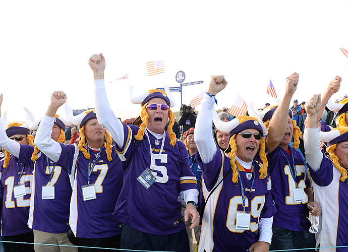 It's likely these rowdy fans were rooting for the American side, but they left no doubt about who they back on Sundays.