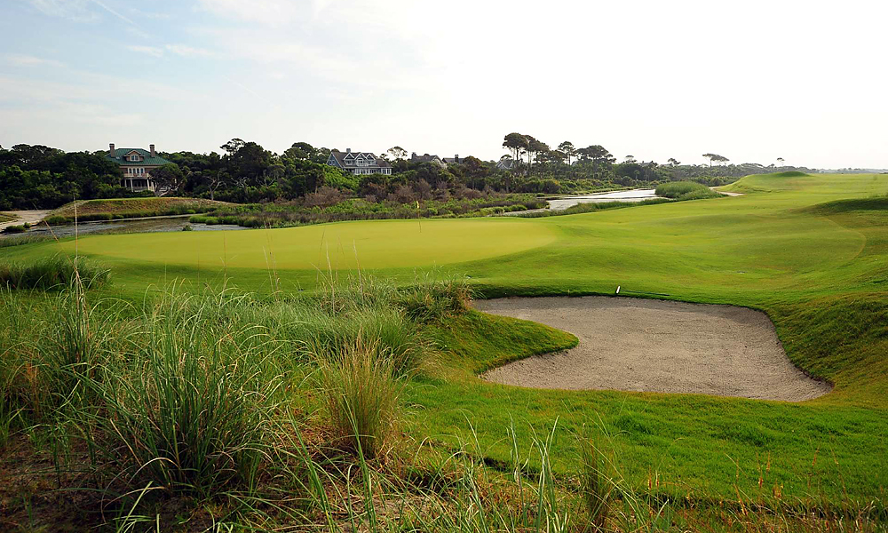 Hole 12, 412 yards, Par 4                       This short par-4 opens into a wide fairway but tapers sharply near the green. The challenge is the downhill approach, which golfers must thread between the canal on the right and the dunes long and left.