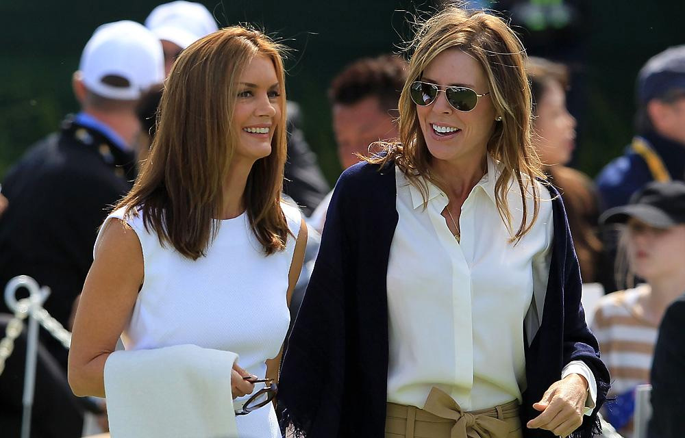 Kirsten Norman (left), wife of Greg Norman, and Midge Trammell, girlfriend of Fred Couples, were introduced together at the opening ceremonies.