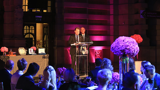 United States team captain Tom Watson talks during the 2014 Ryder Cup Gala Dinner at Kelvingrove Art Gallery and Museum on September 24, 2014 in Glasgow, Scotland.