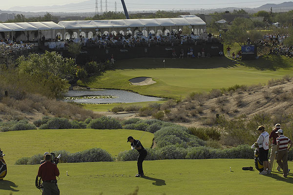 """A lot of people stopped paying attention to golf after the Tour Championship and the Presidents Cup, but the Tour still had a few picturesque courses to visit. Here, Mike Weir played the 16th hole at Grayhawk Golf Club in Scottsdale during the Frys.com Open."""