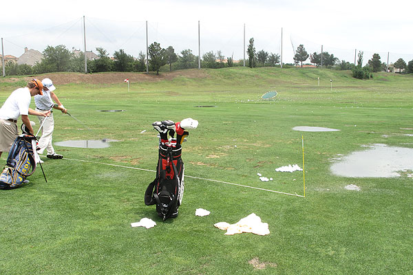 The Range at the TPC Four Seasons was soaked Monday morning by thunderstorms.