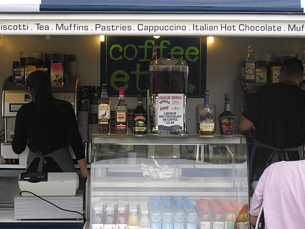 At PGA Tour events, low temperatures and chilly winds mean coffee and hot chocolate. In Scotland, slightly stronger beverages are served as well.