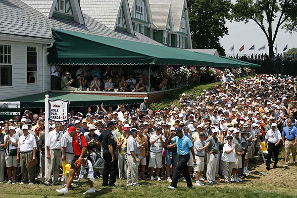 Trying to take a photo of Tiger means dealing with huge crowds. At the first tee at Oakmont, fans were everywhere.