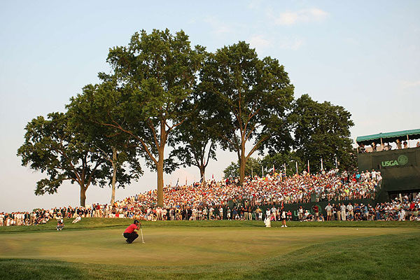 """Sinking this putt was Woods's only chance to force a playoff with Angel Cabrera at Oakmont. The crowd was silent and you could hear a faint breeze in the big trees in the fading light. Tiger had been fighting all day to draw within striking distance on the last three holes. He just couldn't close it out — and he wouldn't here either."""
