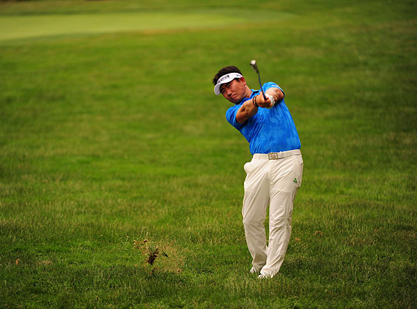 Y.E. Yang started and finished Saturday's round in second place. After a one-under 70, he's six under.