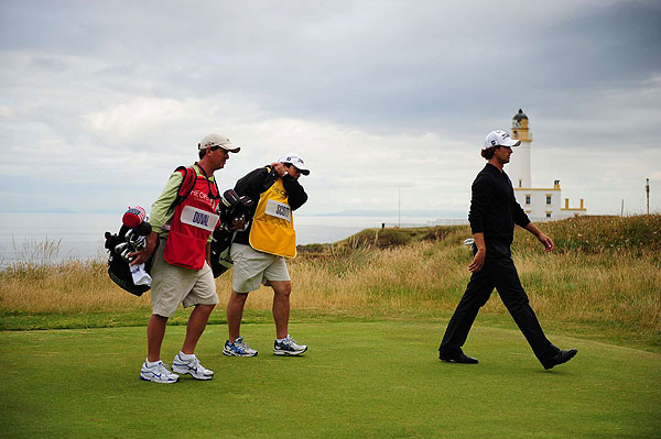 Adam Scott, who finished in the top 10 last week at the Scottish Open, is five strokes off the early lead at even par.