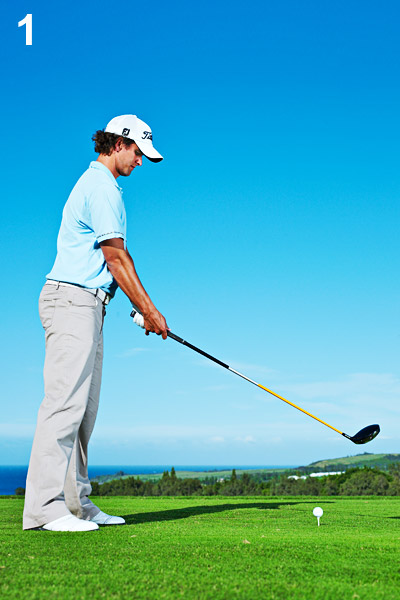 POSTURE                       To find the address posture that's right for you, follow my routine. It's the one I use for every swing I make, whether I'm on the range or competing in a PGA Tour event.                                              1. Stand up straight with the club out in front of you...