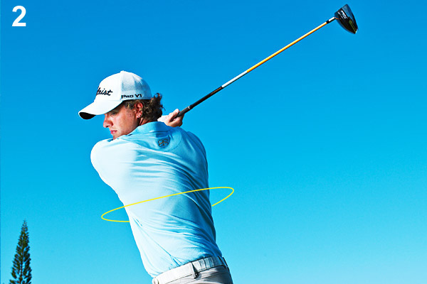 2. You'll know you've made a proper power turn when you feel that your back is facing the target at the end of your backswing.