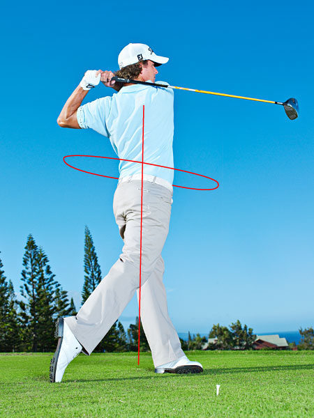 KEY 5 FOLLOW-THROUGH AND FINISH                       Finish with Authority                                              Try to end your swing really hard on your left side, with your eyes looking at the target and your left leg straight. This means that you've been able to rotate fully around your spine and make a complete body turn. Your goal at the end of your swing should be to feel balanced, just like you were at address. This is easy to do when you swing within yourself.
