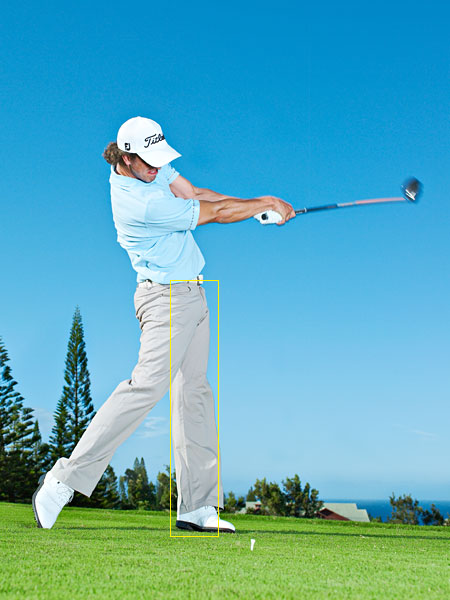 A straight left leg after impact means you've fully rotated around your spine.