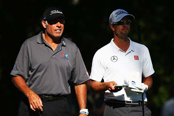 Adam Scott with caddie Steve Williams on Monday at Oak Hill.