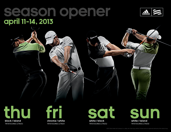 Dustin Johnson, Jason Day and Sergio Garcia will be triplets next week...on all four days! I like the way Adidas has incorporated designs on the back of their polos as well as the front. Sunday's green pants will be interesting. We can only hope they don't clash with a green jacket.