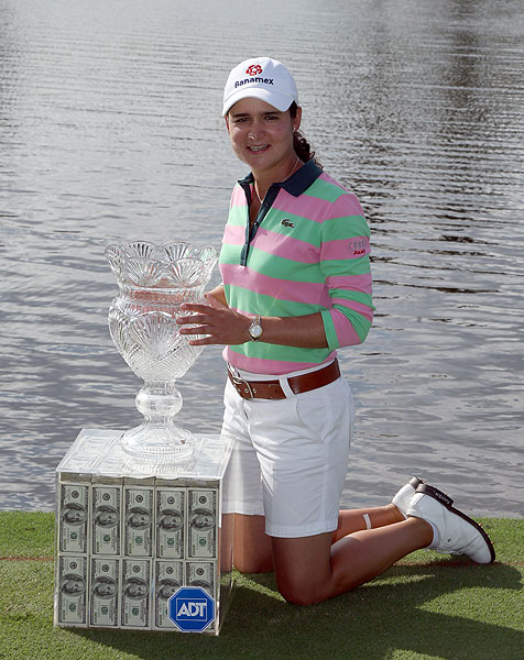 Who cares what the trophy looks like when you also win a box of cash? Lorena Ochoa got $1 million in a glass case for winning the ADT Championship in 2007.