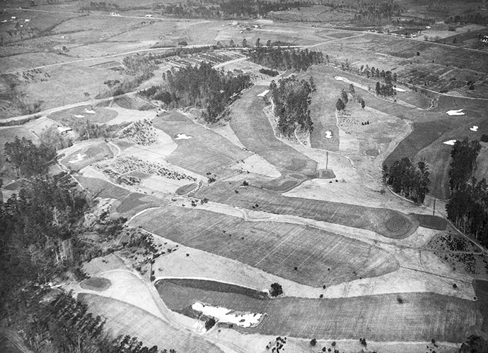 "The Real First Tee: Augusta National's nines were switched after the inaugural Masters in 1934. Yet, records show Alister MacKenzie had first conceived of the current configuration, then changed the plan prior to construction in 1931, possibly to have the 18th (the present 9th) finish near the ""new"" clubhouse. The nines were reversed, to their present order, because the lowest parts of the course (today's 10th through 12th holes) were susceptible to frost and drainage issues. Switching the nines allowed play to start earlier -- and yes, for more drama near round's end."