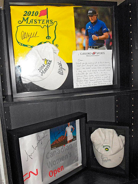 "What the World's Most Dangerous Hole's ""clubhouse"" lacks in luxury, it makes up in paraphernalia. Here are gifts from Phil Mickelson, Michelle Wie and Angel Cabrera."