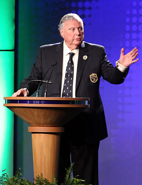 "Peter Alliss's Hall of Fame speech                       At the 2012 World Golf Hall of Fame induction ceremony, inductee Peter Alliss entertained the crowd with a raucous speech that concluded with a story about an old grade school teacher of his. Alliss said he remembered a report card from the teacher that said, ""Peter does have a brain, but he's rather loathe to use it. His only interests appear to be the game of golf and Violet Pretty."" Alliss finished by saying, ""And Mrs. Weymouth, if you're there..."" and then held up his middle finger."