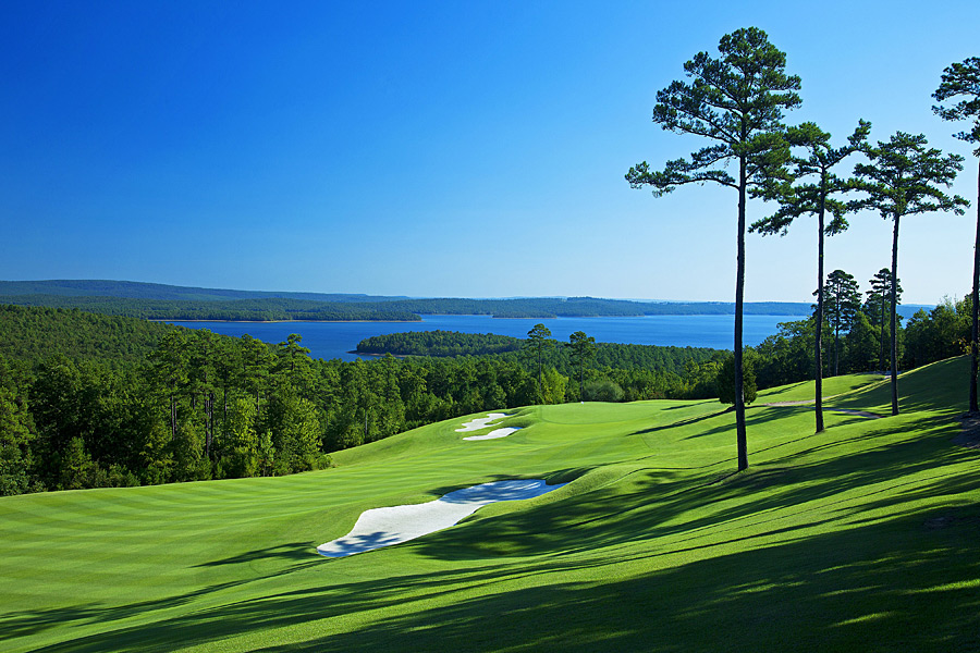 The Alotian (No. 76 U.S.): Arkansas's answer to Augusta National features many similarities to the real thing, including a rolling, wooded tract studded with azaleas in springtime, the design hand of Tom Fazio, and an ambience of relaxed exclusivity. It's no wonder, given that Alotian founder Warren Stephens's dad, Jack, was the former Augusta chairman. Overlooking Lake Maumelle, the course embraces strategic bunkering, angled greens and excellent direction changes throughout the round. Flawless conditioning, risk/reward par 5s and forests dotted with dogwoods do make it sound a lot like a certain Georgia layout.