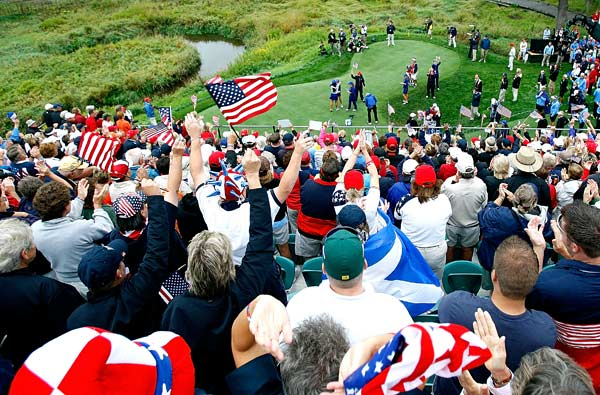 American fans were out in full force supporting their team on the first tee at the Solheim Cup.