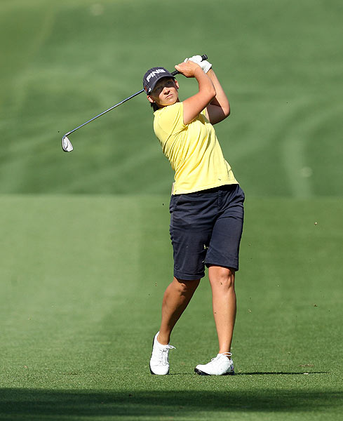 Angela Stanford eagled the par-5 18th hole. She's one stroke off the lead at five under par.