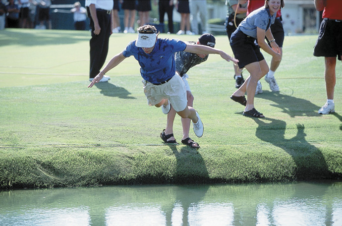 After winning her first of three Kraft titles in 2001, Annika Sorenstam did a full belly flop into Poppie's Pond.