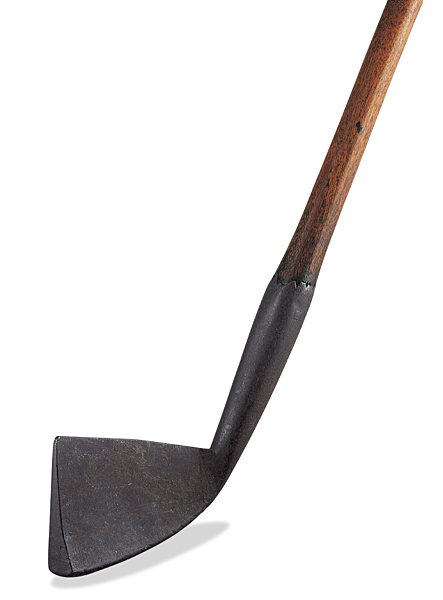 "Square toe heavy iron                                              Sometimes referred to as a ""second generation"" (circa 1700) iron, this club is made of wrought iron, and its smooth lines and squared toe were clearly sculpted by a master blacksmith.                                              Alternate use: 41-inch-long backscratcher."