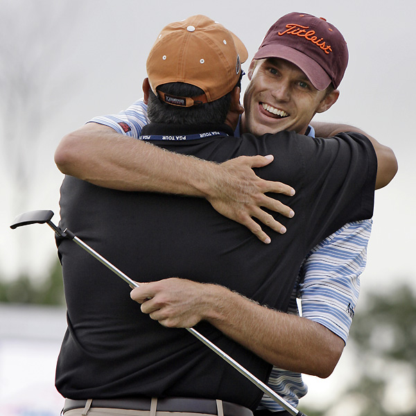 "After putting out for the win, Watney gave a hug to close friend Rusty ""Hoss"" Uresti. ""It feels great,"" Watney said. ""I mean, I'm living a dream right now. It's been a goal for a long time, and I'm on cloud nine."""