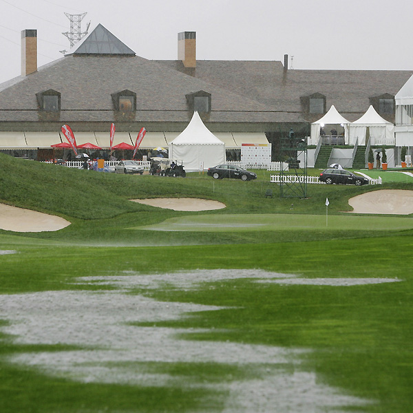 Heavy rains delayed play during the first round of the European Tour's Open de Espana in Madrid, Spain.