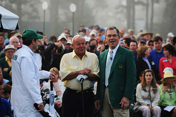 The fog delayed the tournament for an hour, but Palmer, shown here with Augusta Chairman Billy Payne, kicked things off at about 8 a.m.