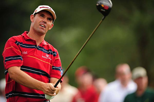 The 2007 British Open champion Padraig Harrington double bogeyed the par-4 fifth hole. He is at two over par.